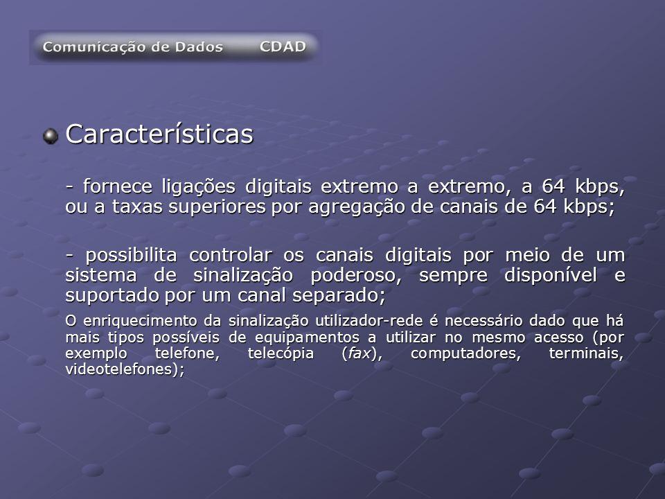 Características - fornece ligações digitais extremo a extremo, a 64 kbps, ou a taxas superiores por agregação de canais de 64 kbps; - possibilita cont