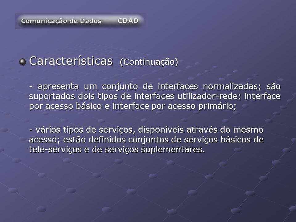 Características (Continuação) - apresenta um conjunto de interfaces normalizadas; são suportados dois tipos de interfaces utilizador-rede: interface p