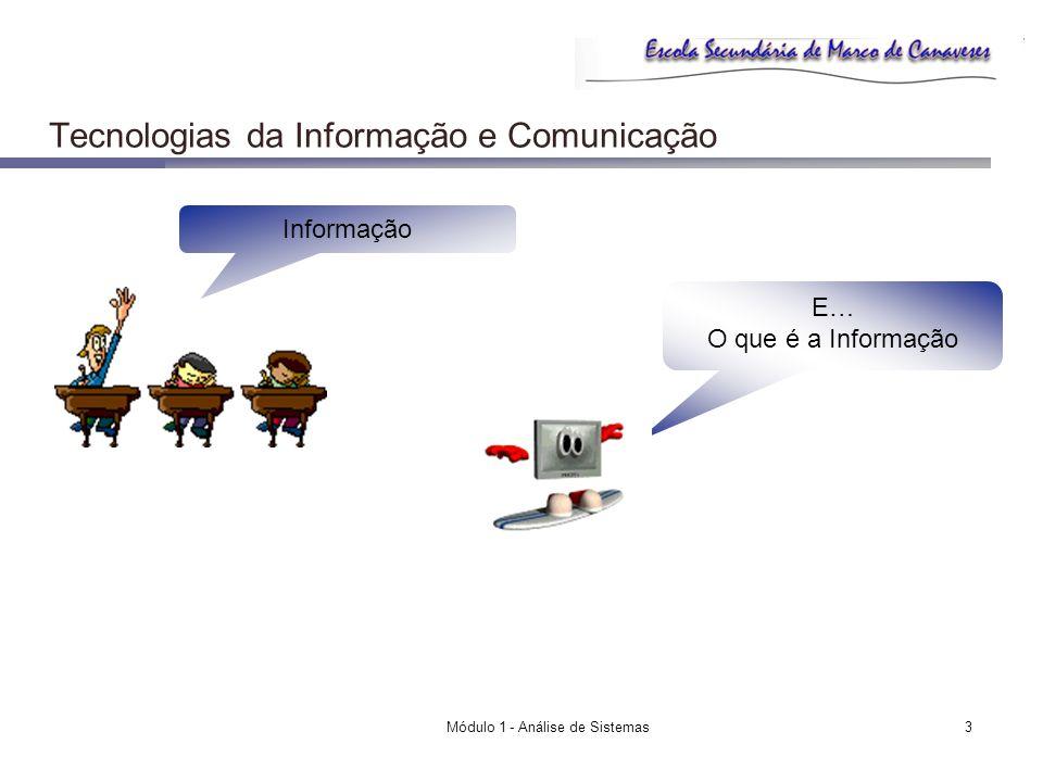 Módulo 1 - Análise de Sistemas4 Tecnologias da Informação e Comunicação Informação Tem Contexto Tem significado É enviada e recebida por: uma pessoa um grupo uma organização uma máquina