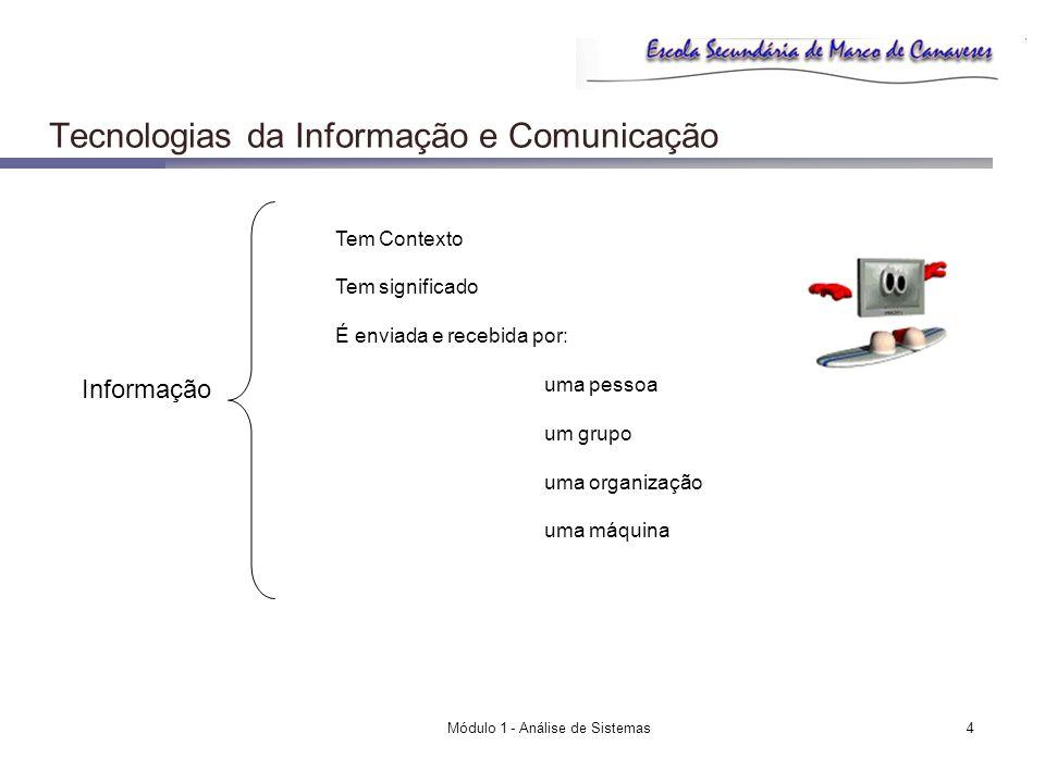 Módulo 1 - Análise de Sistemas4 Tecnologias da Informação e Comunicação Informação Tem Contexto Tem significado É enviada e recebida por: uma pessoa u