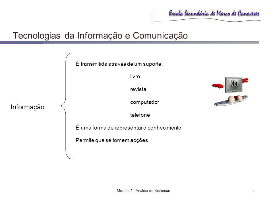 Módulo 1 - Análise de Sistemas6 Tecnologias da Informação e Comunicação E… Um Sistema de Informação Inclui o trabalho da organização; Visa ajudar os objectivos da organização Recolha Armazenamento Processamento e…distribuição da informação É um sistema baseado em computador, isto é, nas TI Como