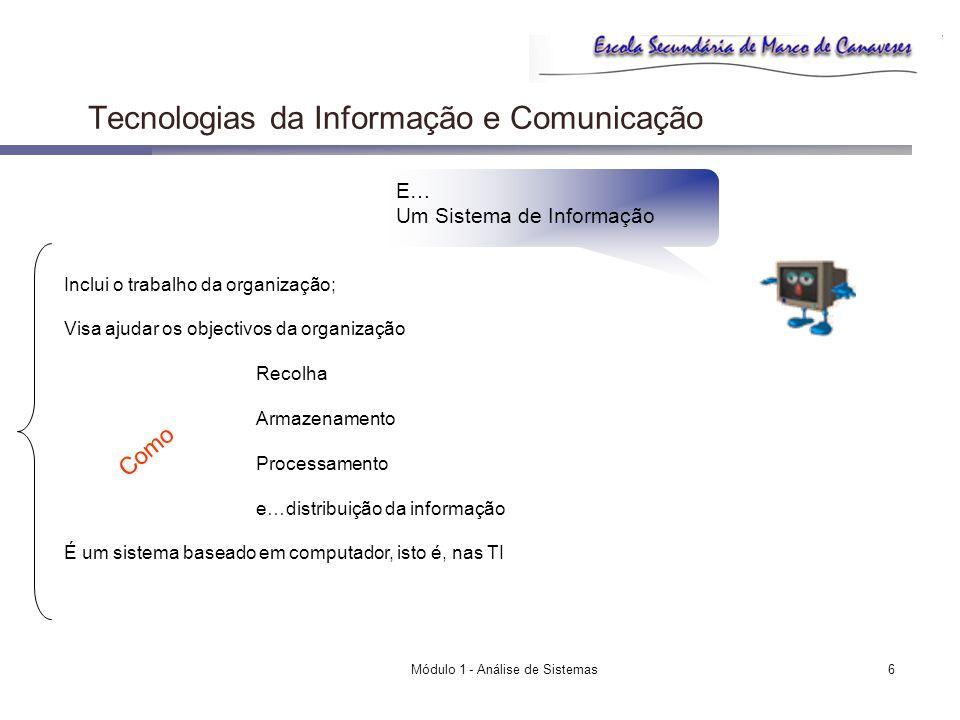 Módulo 1 - Análise de Sistemas6 Tecnologias da Informação e Comunicação E… Um Sistema de Informação Inclui o trabalho da organização; Visa ajudar os o