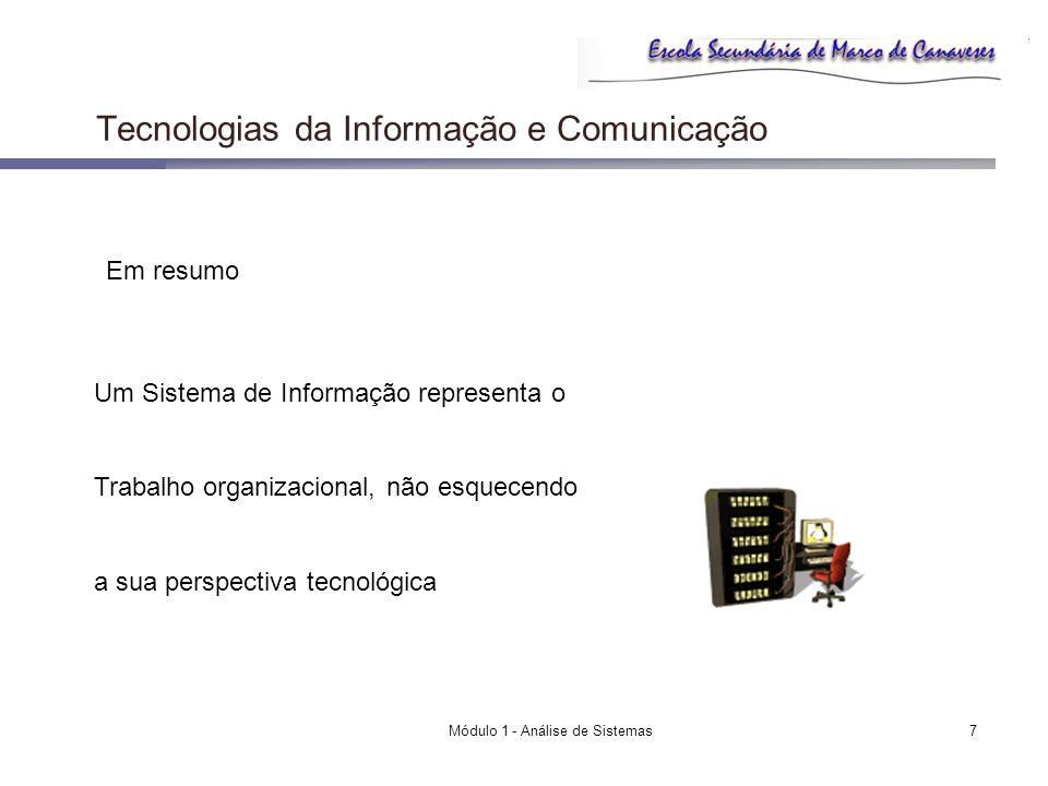 Módulo 1 - Análise de Sistemas7 Tecnologias da Informação e Comunicação Em resumo Um Sistema de Informação representa o Trabalho organizacional, não e