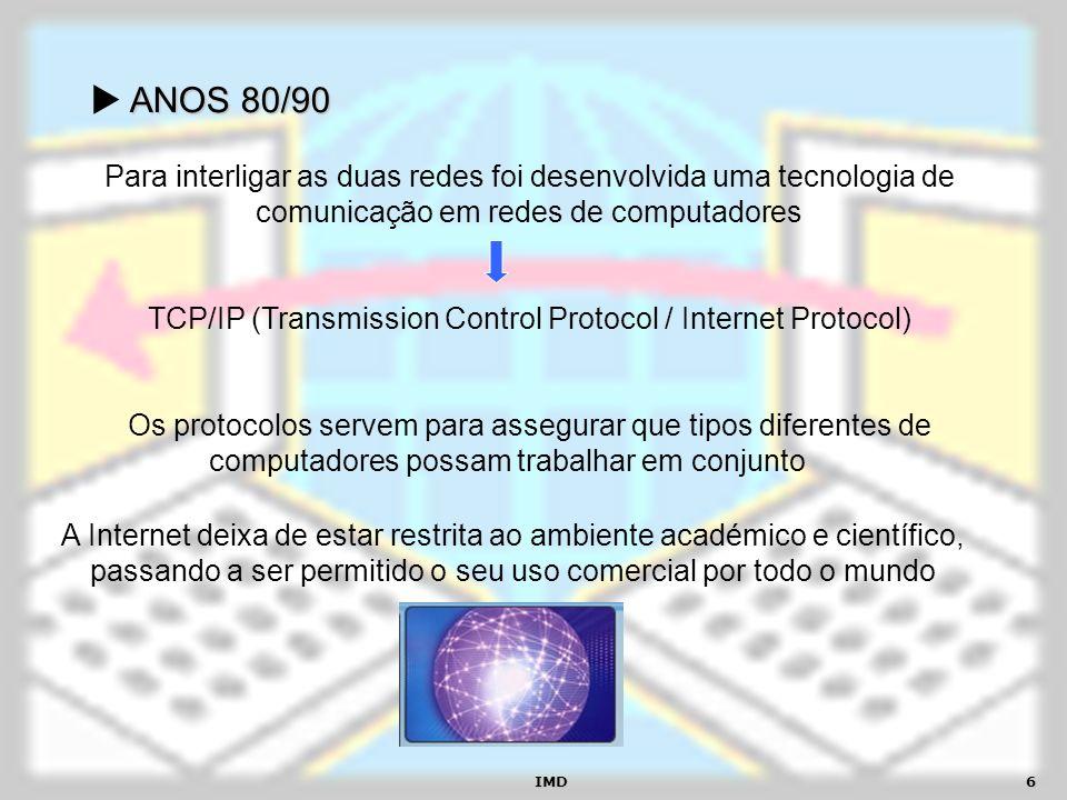 IMD6 ANOS 80/90 A Internet deixa de estar restrita ao ambiente académico e científico, passando a ser permitido o seu uso comercial por todo o mundo P