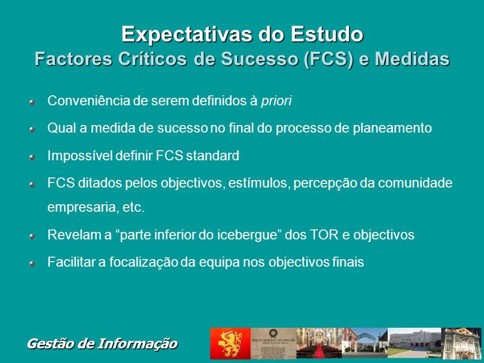 Gestão de Informação Expectativas do Estudo Factores Críticos de Sucesso (FCS) e Medidas Conveniência de serem definidos à priori Qual a medida de suc