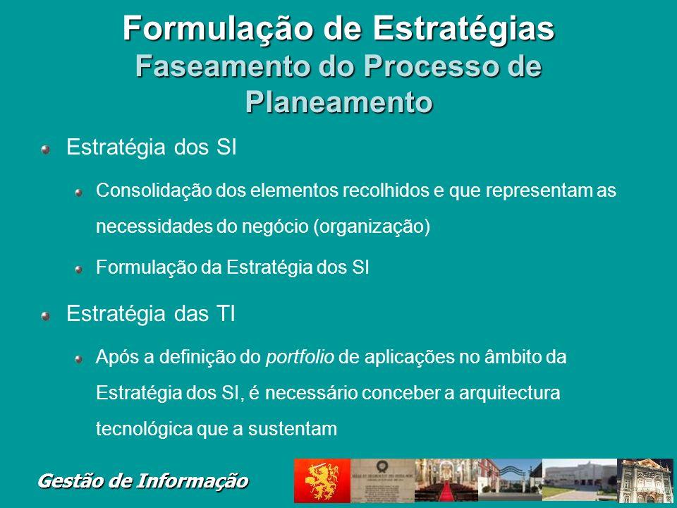 Gestão de Informação Formulação de Estratégias Faseamento do Processo de Planeamento Estratégia dos SI Consolidação dos elementos recolhidos e que rep