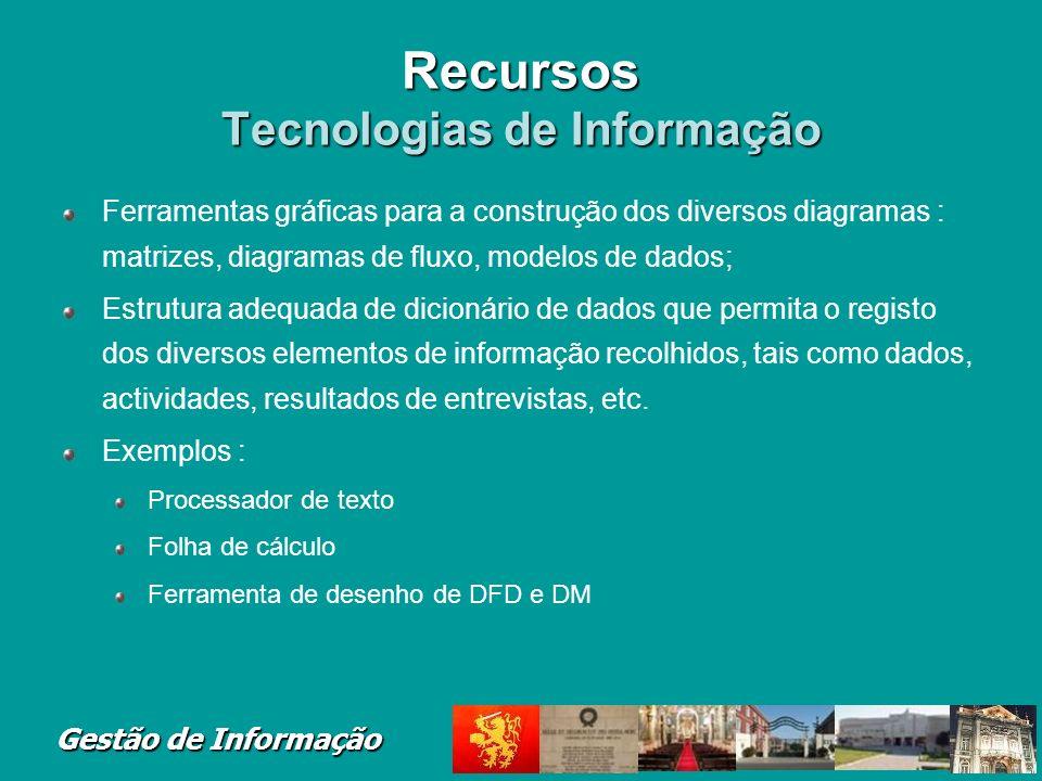 Gestão de Informação Recursos Tecnologias de Informação Ferramentas gráficas para a construção dos diversos diagramas : matrizes, diagramas de fluxo,