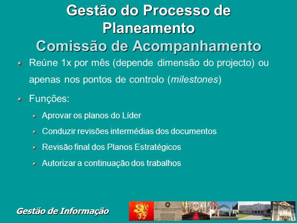 Gestão de Informação Gestão do Processo de Planeamento Comissão de Acompanhamento Reúne 1x por mês (depende dimensão do projecto) ou apenas nos pontos