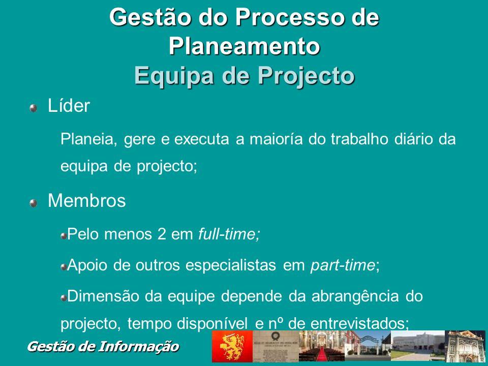 Gestão de Informação Gestão do Processo de Planeamento Equipa de Projecto Líder Planeia, gere e executa a maioría do trabalho diário da equipa de proj