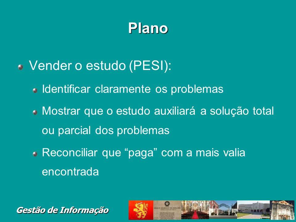 Gestão de Informação Plano Vender o estudo (PESI): Identificar claramente os problemas Mostrar que o estudo auxiliará a solução total ou parcial dos p