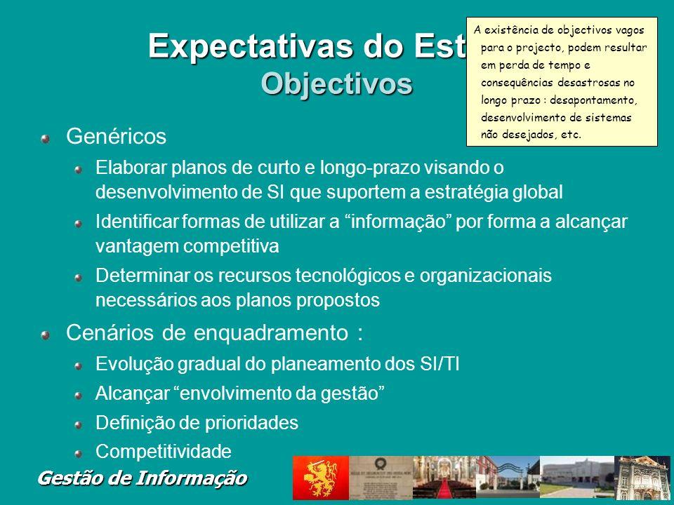 Gestão de Informação Expectativas do Estudo Objectivos Genéricos Elaborar planos de curto e longo-prazo visando o desenvolvimento de SI que suportem a