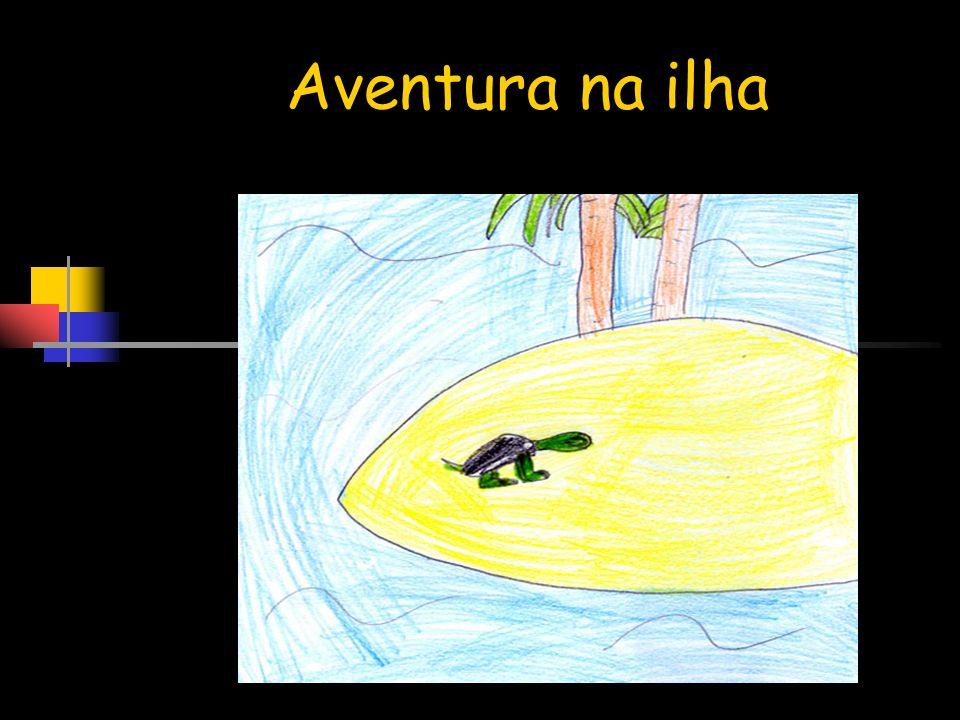 As tartarugas empurraram com a ajuda da Beatriz e do Ursinho o submarino para o mar…
