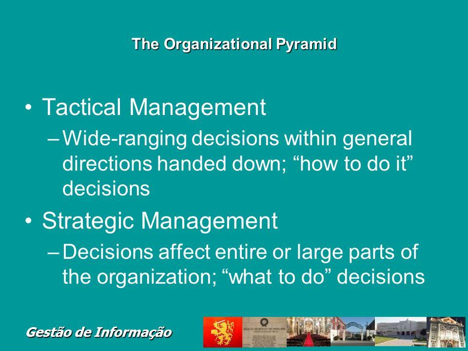 Gestão de Informação The Organizational Pyramid Many organizations follow pyramid model –CEO at top –Small group of senior managers –Many more lower-l