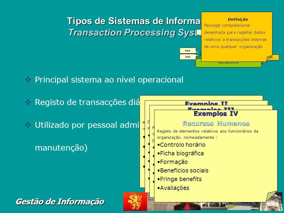 Gestão de Informação Inter-relações entre Tipos de Sistemas de Informação