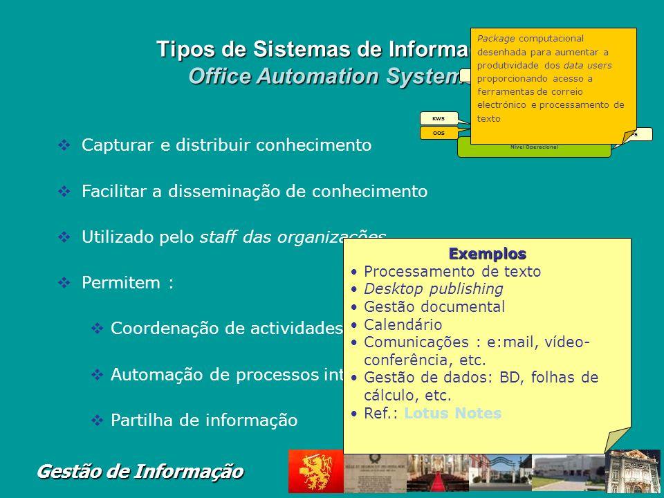 Gestão de Informação Tipos de Sistemas de Informa ç ão Knowledge Work Systems KWS = Sistemas de Gestão do Conhecimento Actividades dos Knowledge worke