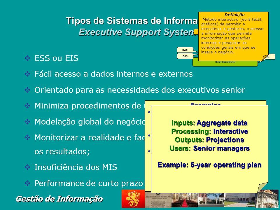 Gestão de Informação Tipos de Sistemas de Informa ç ão Decision Support Systems Visão alargada Decisor retêm controlo do processo de decisão Modelos m
