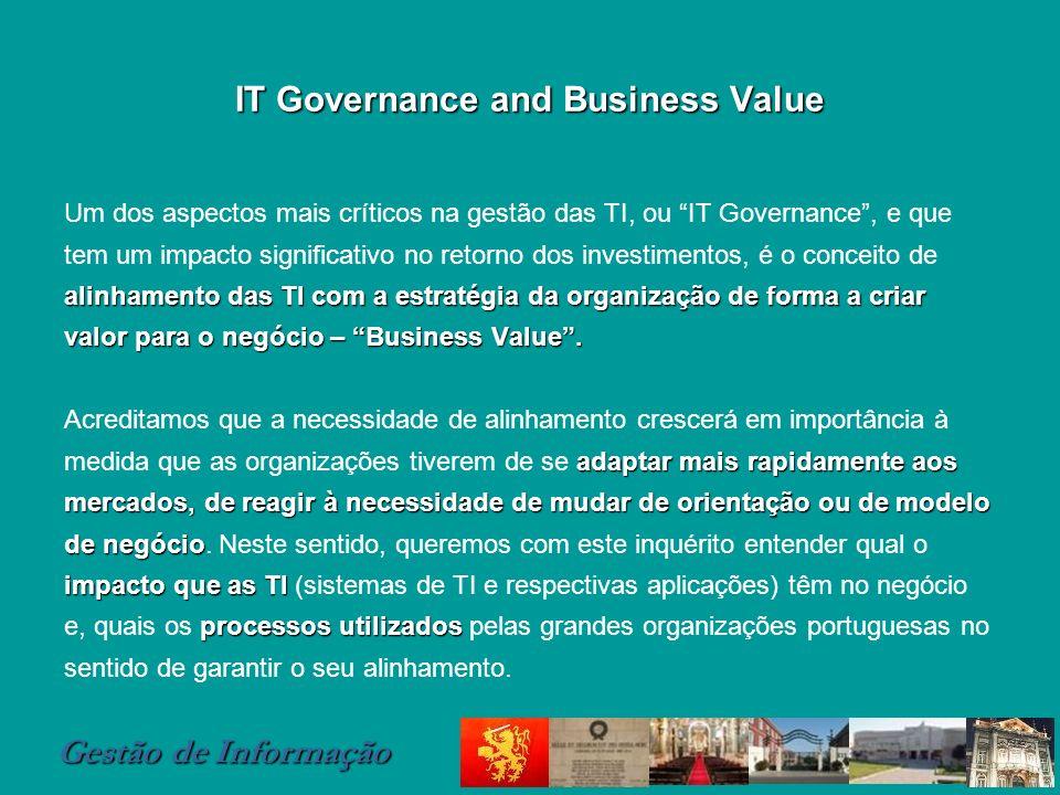 Gestão de Informação IT Governance and Business Value alinhamento das TI com a estratégia da organizaçãode forma a criar valor para o negócio – Busine