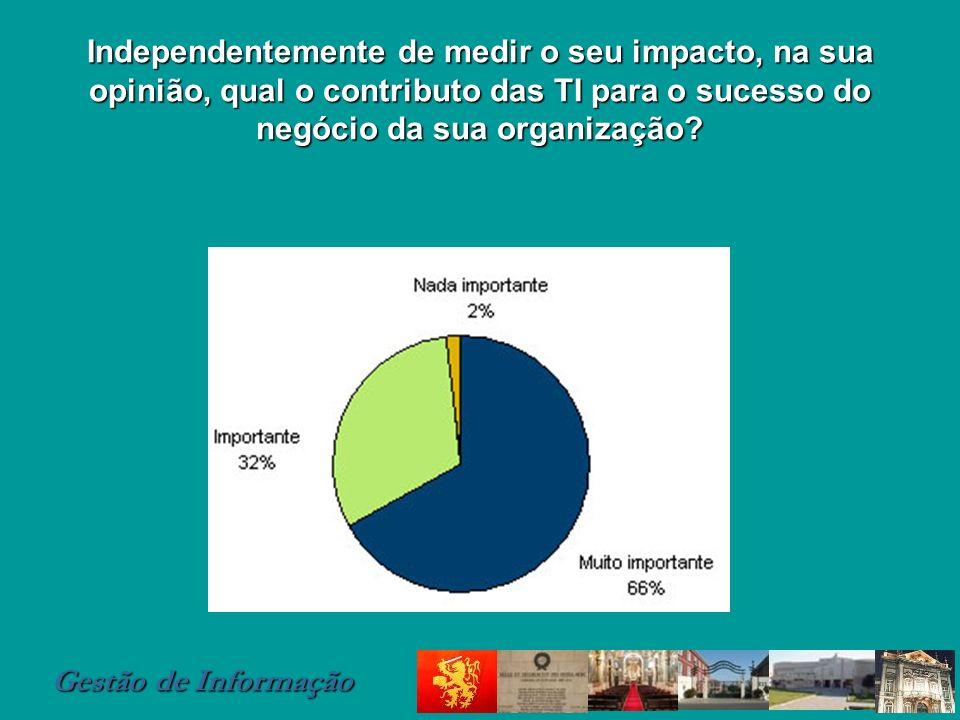 Gestão de Informação Independentemente de medir o seu impacto, na sua opinião, qual o contributo das TI para o sucesso do negócio da sua organização?