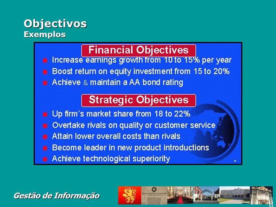 12 Gestão de Informação Objectivos Exemplos