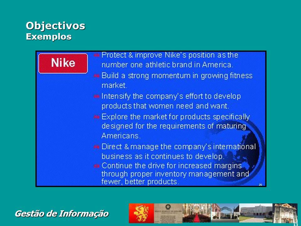 13 Gestão de Informação Objectivos Exemplos