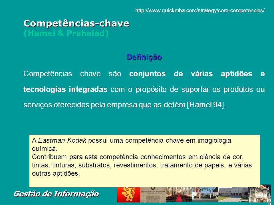 14 Gestão de Informação Competências-chave Competências-chave (Hamel & Prahalad) Definição Competências chave são conjuntos de várias aptidões e tecno