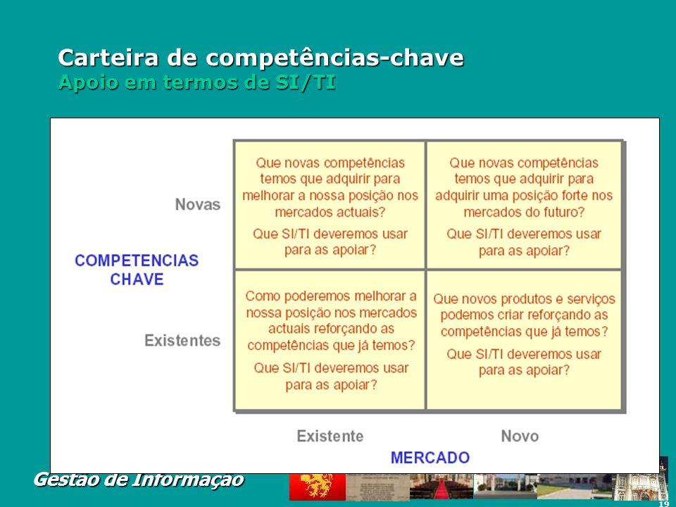 19 Gestão de Informação Carteira de competências-chave Apoio em termos de SI/TI