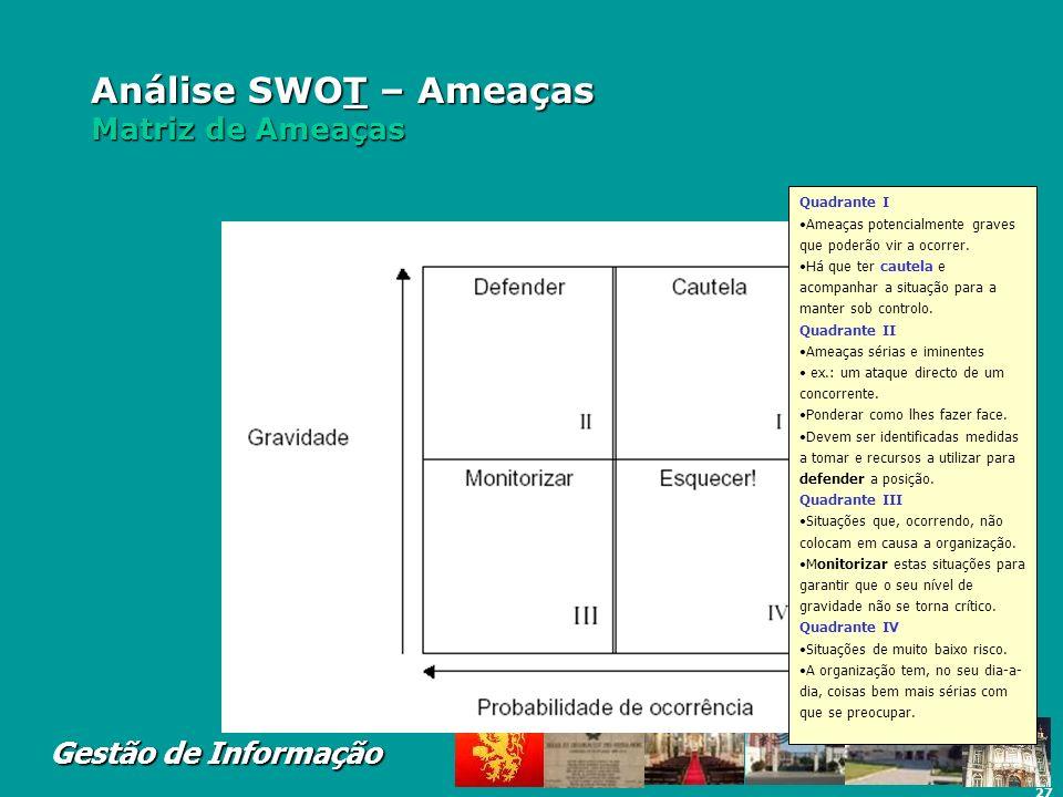 27 Gestão de Informação Análise SWOT – Ameaças Matriz de Ameaças Do mesmo modo que surgem as oportunidades, também das mudanças no meio envolvente pod