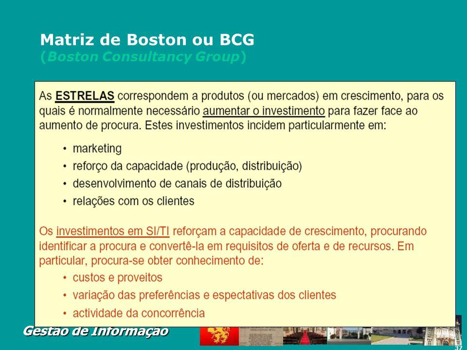 37 Gestão de Informação Matriz de Boston ou BCG (Boston Consultancy Group)