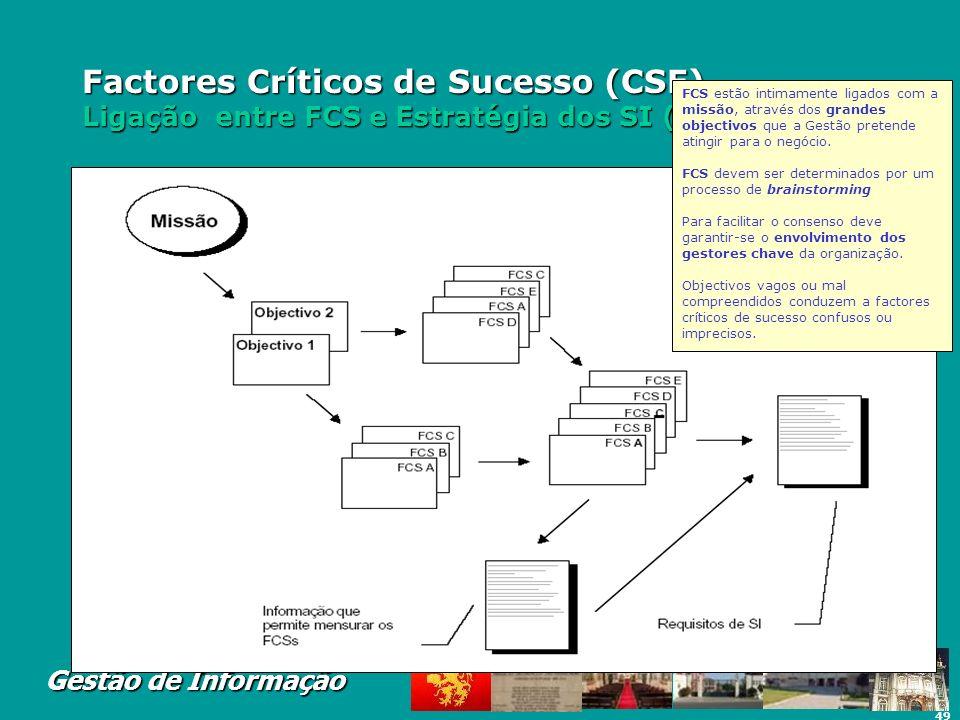 49 Gestão de Informação Factores Críticos de Sucesso (CSF) Ligação entre FCS e Estratégia dos SI (Requisitos) FCS estão intimamente ligados com a miss