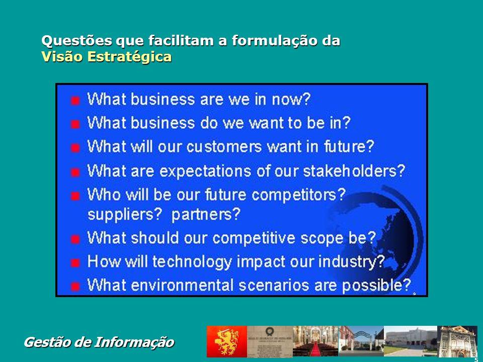 5 Gestão de Informação Questões que facilitam a formulação da Visão Estratégica