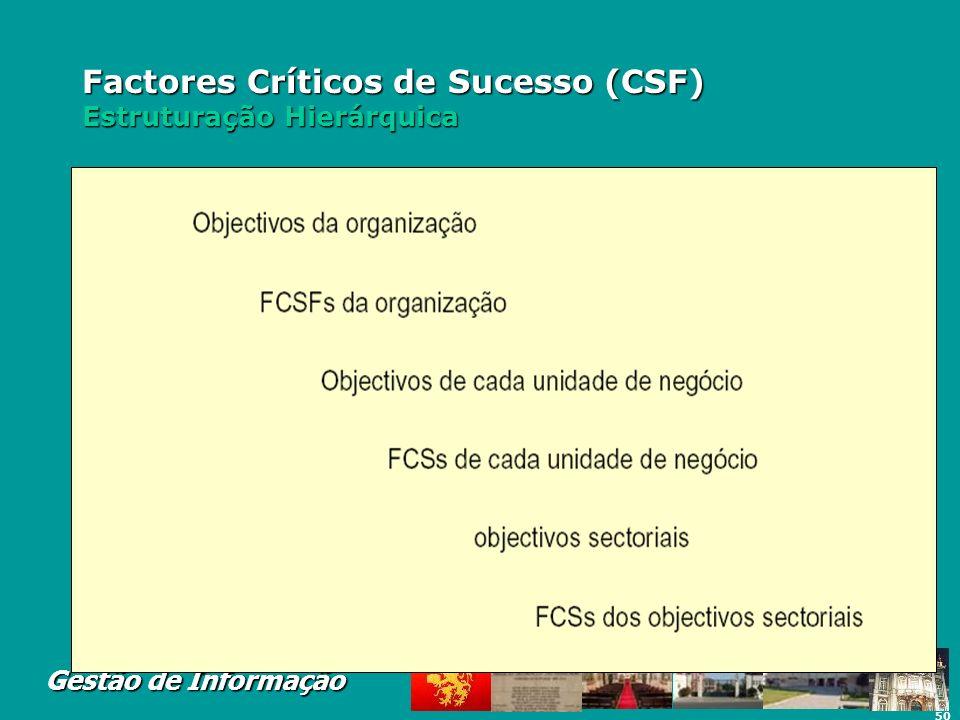 50 Gestão de Informação Factores Críticos de Sucesso (CSF) Estruturação Hierárquica