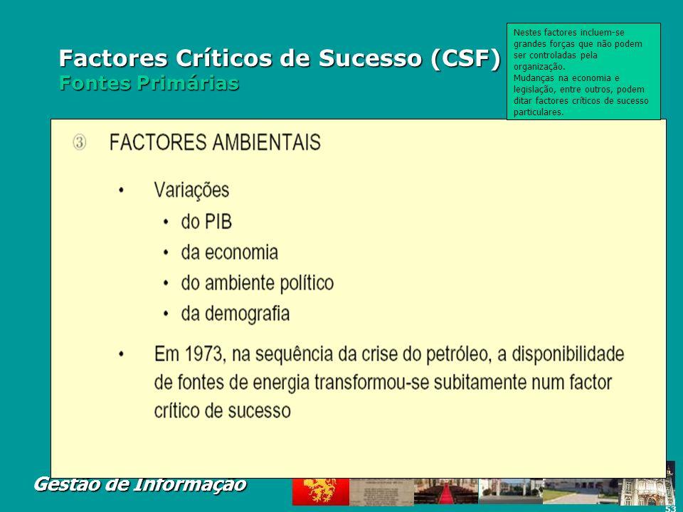 53 Gestão de Informação Factores Críticos de Sucesso (CSF) Fontes Primárias Nestes factores incluem-se grandes forças que não podem ser controladas pe