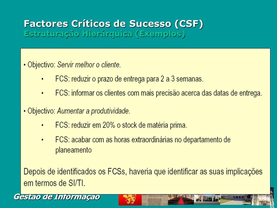 55 Gestão de Informação Factores Críticos de Sucesso (CSF) Estruturação Hierárquica (Exemplos)