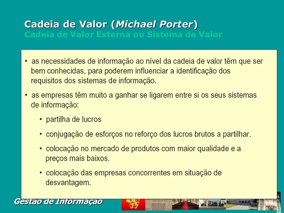 60 Gestão de Informação Cadeia de Valor (Michael Porter) Cadeia de Valor (Michael Porter) Cadeia de Valor Externa ou Sistema de Valor
