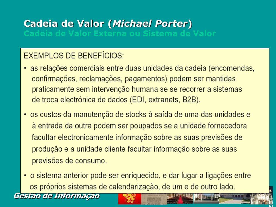 61 Gestão de Informação Cadeia de Valor (Michael Porter) Cadeia de Valor (Michael Porter) Cadeia de Valor Externa ou Sistema de Valor