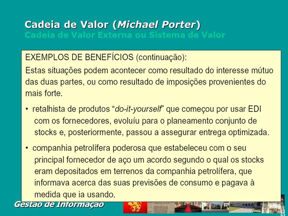 63 Gestão de Informação Cadeia de Valor (Michael Porter) Cadeia de Valor (Michael Porter) Cadeia de Valor Externa ou Sistema de Valor