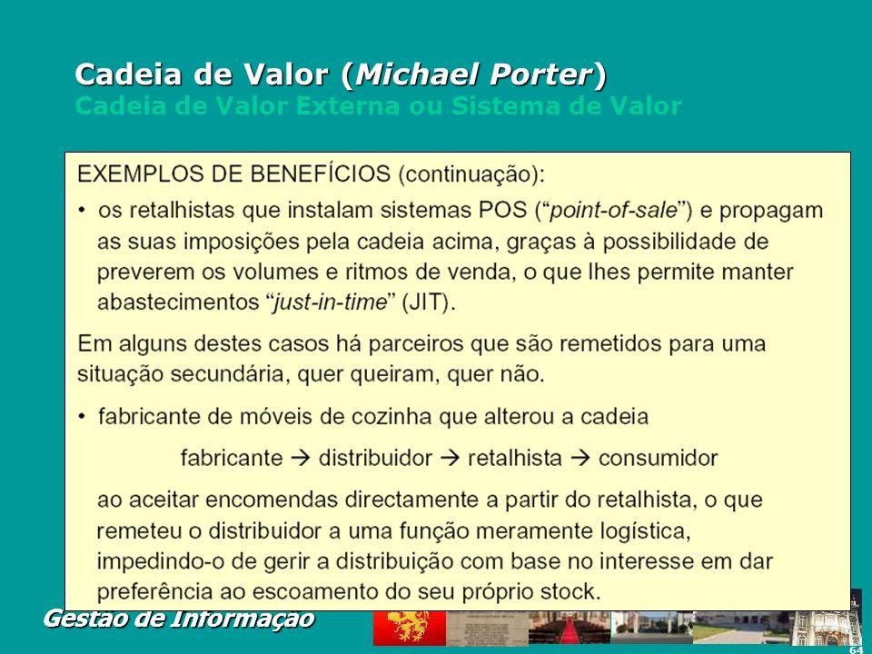 64 Gestão de Informação Cadeia de Valor (Michael Porter) Cadeia de Valor (Michael Porter) Cadeia de Valor Externa ou Sistema de Valor
