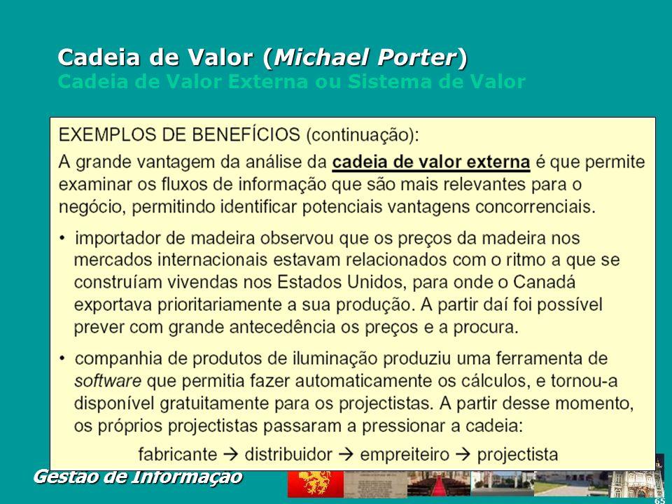 65 Gestão de Informação Cadeia de Valor (Michael Porter) Cadeia de Valor (Michael Porter) Cadeia de Valor Externa ou Sistema de Valor