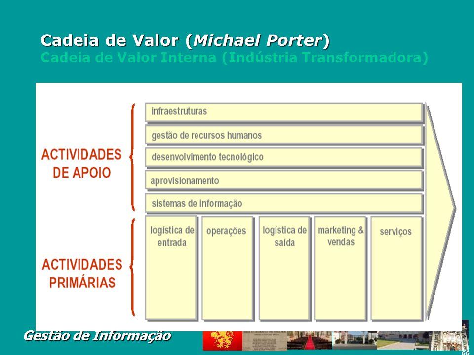 66 Gestão de Informação Cadeia de Valor (Michael Porter) Cadeia de Valor (Michael Porter) Cadeia de Valor Interna (Indústria Transformadora)
