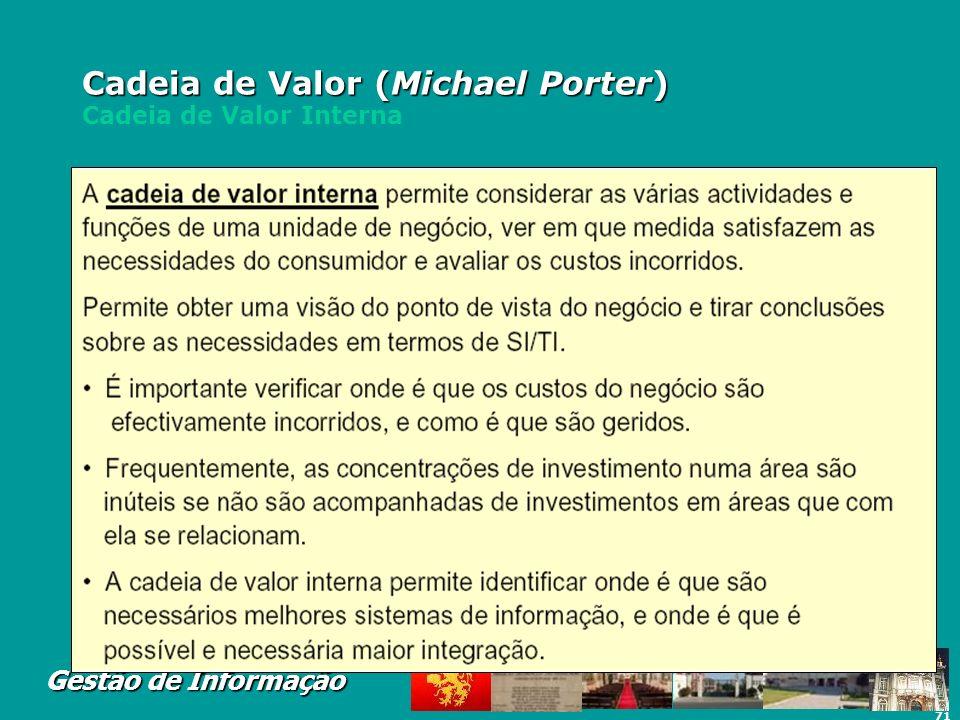 71 Gestão de Informação Cadeia de Valor (Michael Porter) Cadeia de Valor (Michael Porter) Cadeia de Valor Interna