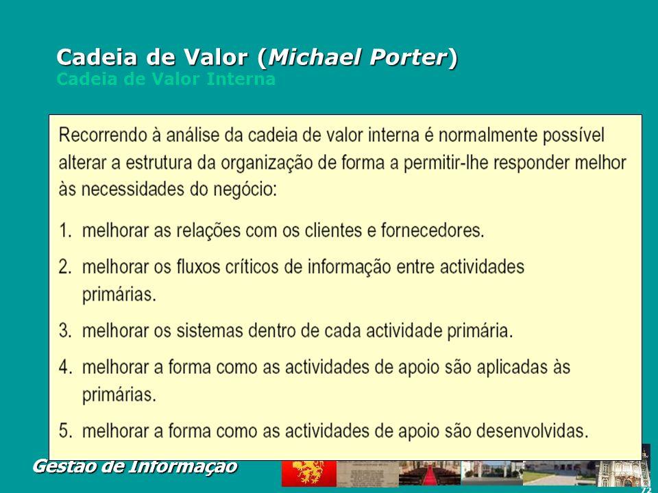 72 Gestão de Informação Cadeia de Valor (Michael Porter) Cadeia de Valor (Michael Porter) Cadeia de Valor Interna