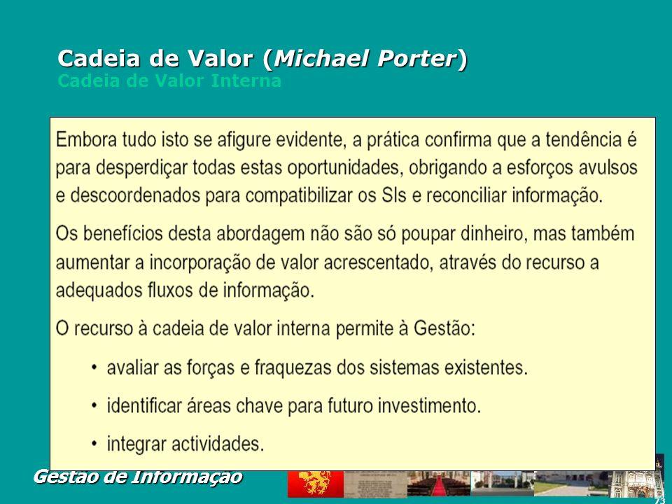 73 Gestão de Informação Cadeia de Valor (Michael Porter) Cadeia de Valor (Michael Porter) Cadeia de Valor Interna