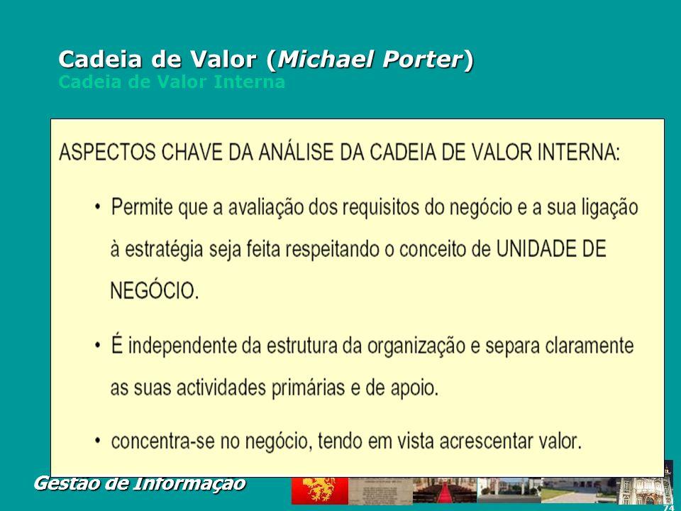74 Gestão de Informação Cadeia de Valor (Michael Porter) Cadeia de Valor (Michael Porter) Cadeia de Valor Interna