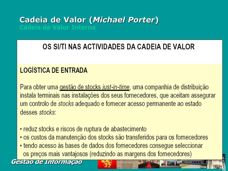 75 Gestão de Informação Cadeia de Valor (Michael Porter) Cadeia de Valor (Michael Porter) Cadeia de Valor Interna