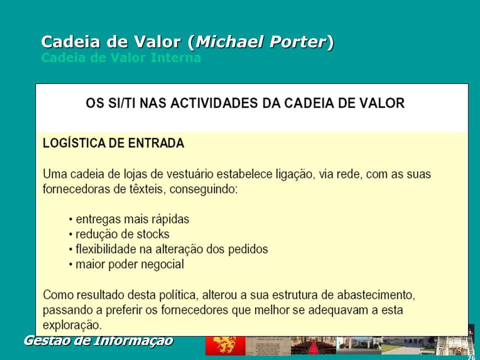 76 Gestão de Informação Cadeia de Valor (Michael Porter) Cadeia de Valor (Michael Porter) Cadeia de Valor Interna