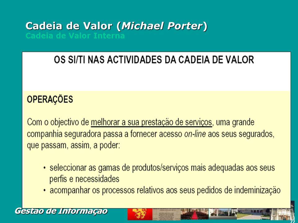 77 Gestão de Informação Cadeia de Valor (Michael Porter) Cadeia de Valor (Michael Porter) Cadeia de Valor Interna