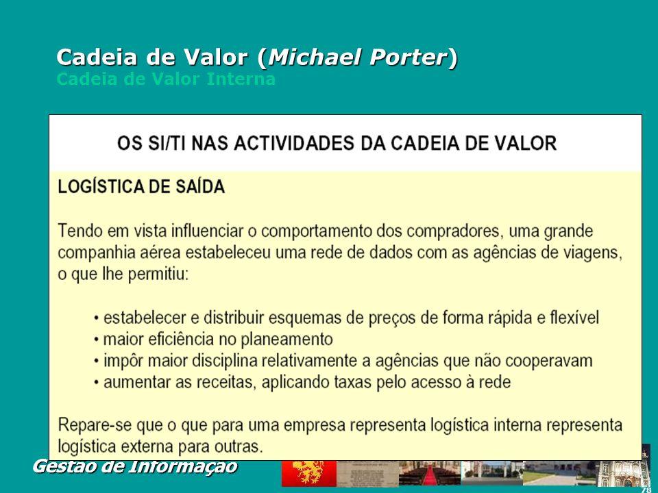 78 Gestão de Informação Cadeia de Valor (Michael Porter) Cadeia de Valor (Michael Porter) Cadeia de Valor Interna