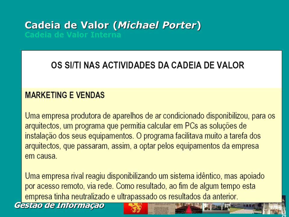 79 Gestão de Informação Cadeia de Valor (Michael Porter) Cadeia de Valor (Michael Porter) Cadeia de Valor Interna