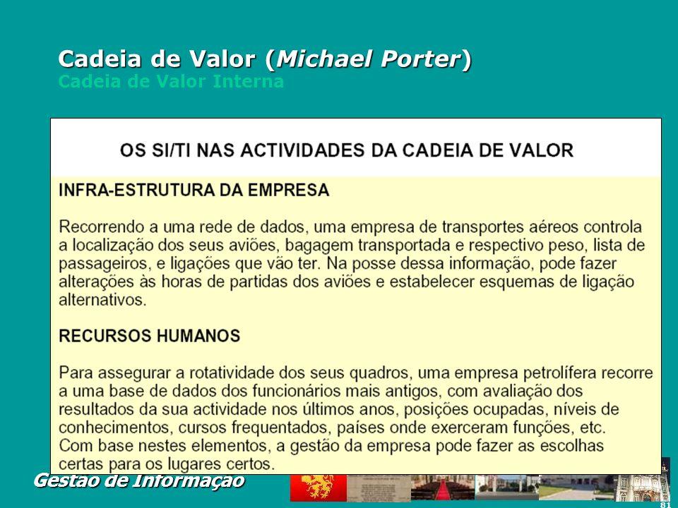 81 Gestão de Informação Cadeia de Valor (Michael Porter) Cadeia de Valor (Michael Porter) Cadeia de Valor Interna