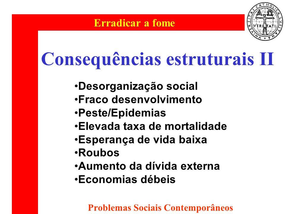 Erradicar a fome Problemas Sociais Contemporâneos Consequências estruturais II Desorganização social Fraco desenvolvimento Peste/Epidemias Elevada tax